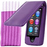 Kolay iPod Nano 7G Leather Case in Purple + Protective Sock for the New Apple iPod Nano 7G (7th Generation 16GB)