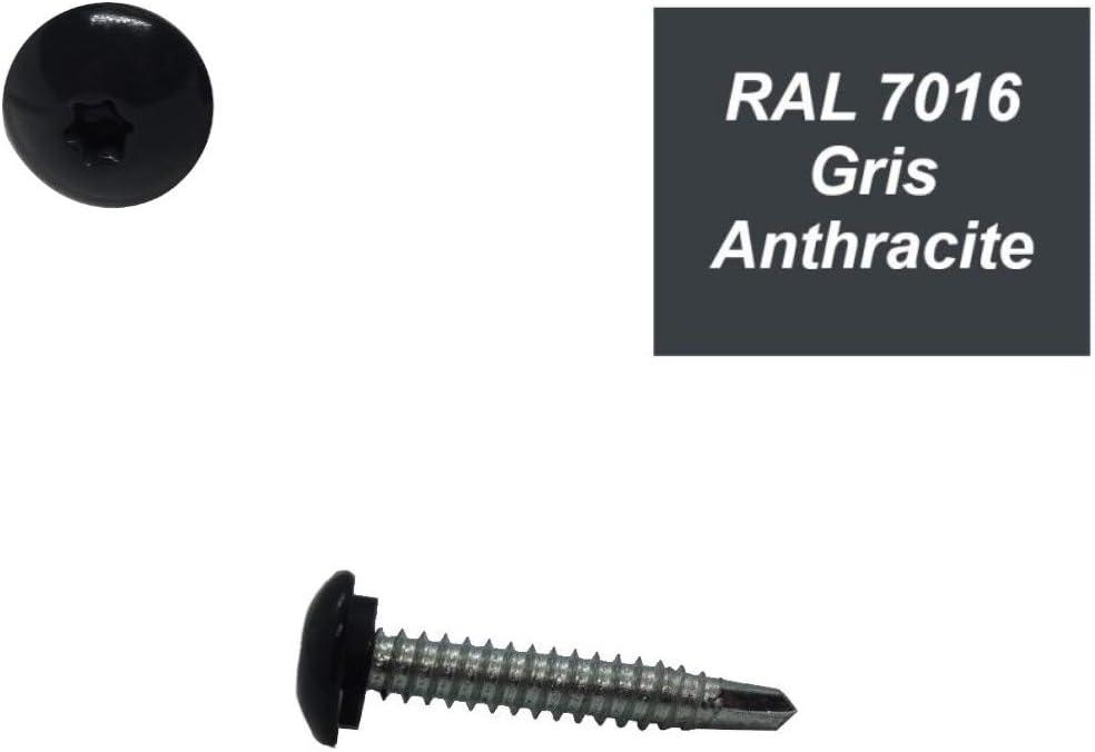 Vis autoperceuses 6,3x38 mm RAL 7016 Gris anthracite avec rondelle /étancheit/é t/ête bomb/ée zingu/ée sur support bois par 50