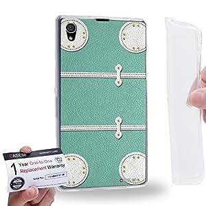 Case88 [Sony Xperia Z1] Gel TPU Phone case & Warranty Card - Art Fashion Aqua Luggage Art1868