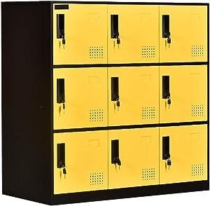 9 Door Locker Office Storage Locker Home and School Storage Organizer Metal Storage Cabinet with Lock for Classroom Gym Kids Room Playroom (Yellow)