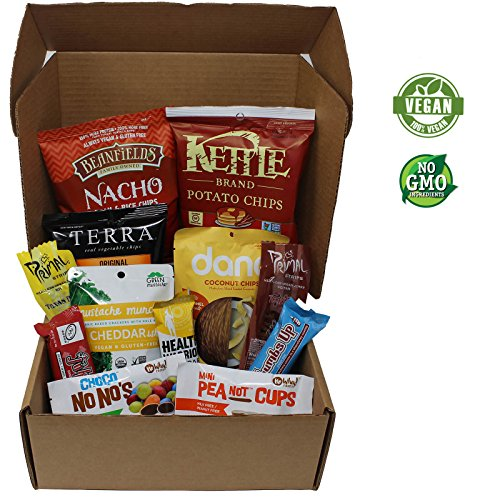 VeganWorks Assorted Vegan Snack Box: Candy Bars, Chocolate, Smoky Jerky, Chips, Crackers, and more. 100% VEGAN AND NON-GMO! - Free Candy Dairy