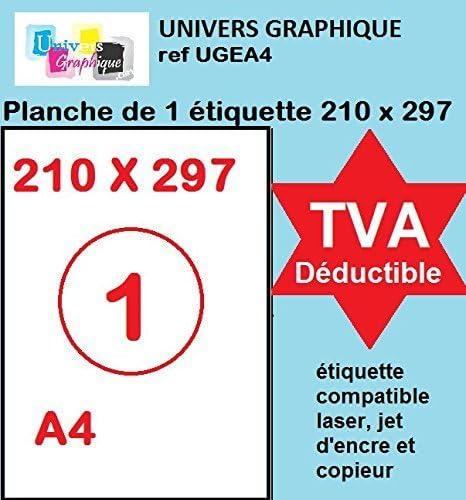 100 A4 hoja 1 para el parachoques 210 x 297 mm papel de etiquetas ...