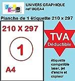 100 hojas DIN A4, papel adhesivo blanco-Etiqueta autoadhesiva 210 x 297 mm, lámina adhesiva permanente de 1-Etiquetas marca UNIVERS GRAPHIQUE-UGEA4 factura, con el IVA deducible