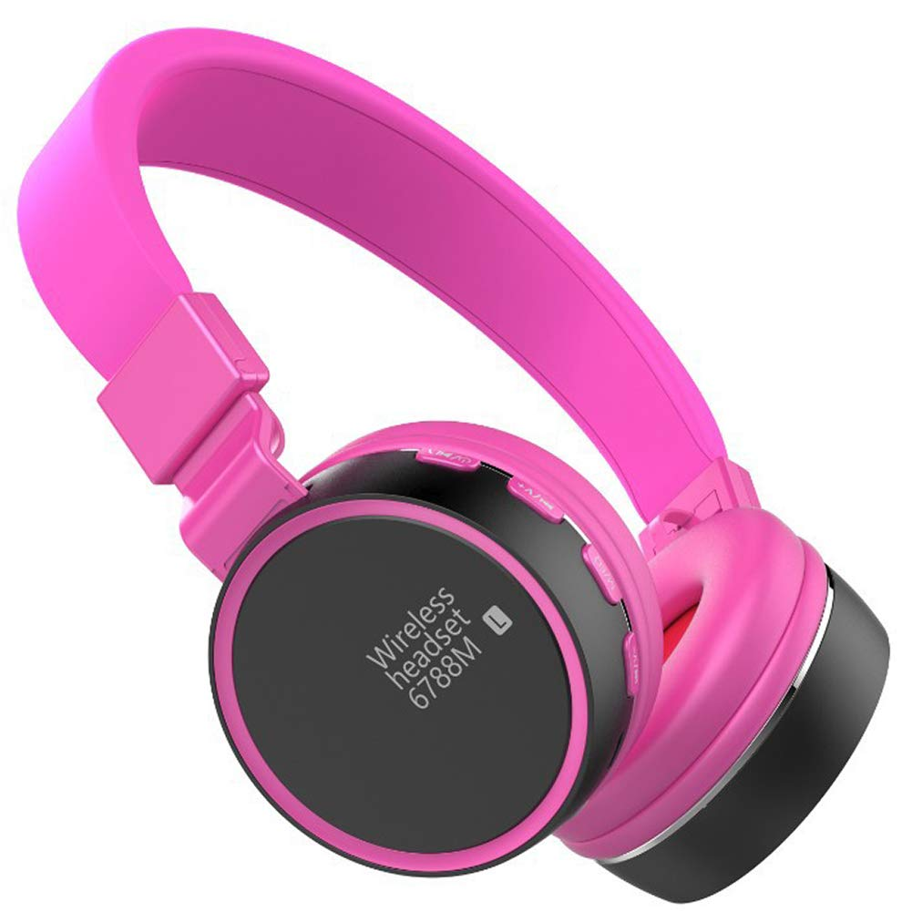 Jrjq Foldable Stereo Noise Cancelling Headphones, Bluetooth 4.2 Over Ear Wireless Headphones Wireless and Wired Mode Headsets-Purple