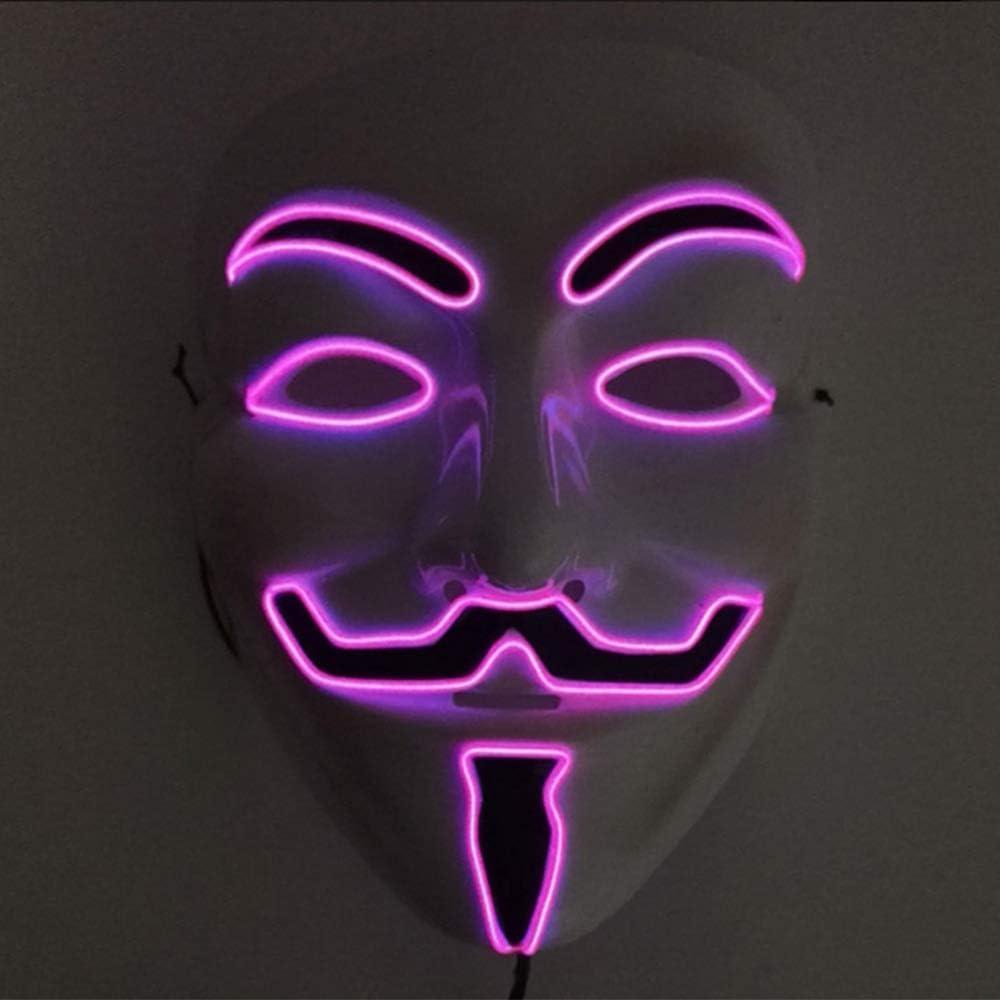 Halloween Mask Junyee Led Anonymous Hacker Face Mask For Costume Party Festival Cosplay Halloween Pink Amazon Co Uk Clothing