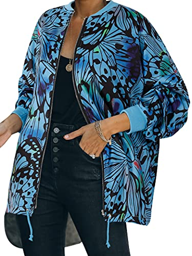 MYMORE Womens Y2K Butterfly Graphic Bomber Jacket Long Sleeve Full Zip Up Sweatshirt Coat Tops With Drawstring