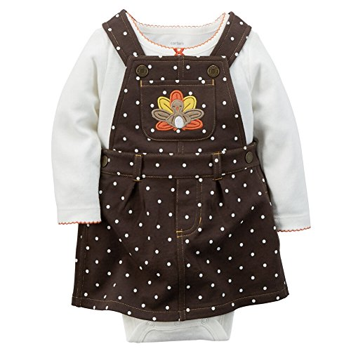 (Carter's Baby Girls' Thanksgiving 2-piece Jumper Set (Newborn, Brown Dot))