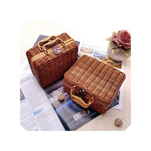 Wicker Baskets Rattan Suitcase Box Woven Storage Basket Makeup Bin Bamboo Picnic Basket Food Storage Boxes for Travel,Purple,26 x 16 x 10 cm (Cheap Singapore Rattan Baskets)