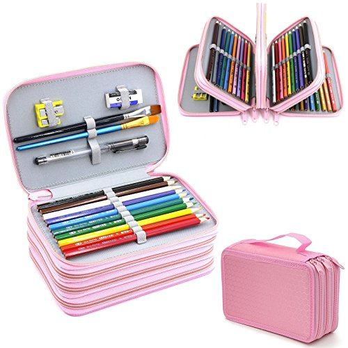 4 Layers High Capacity Pencil Brush Case Box Pen Pouch Bag Makeup Storage Bag Pink (Pens From Target compare prices)