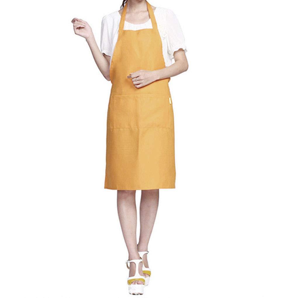 Solid Color Simple Design Halter Neck Apron Polyester Waiter Baker Chefs Full Bib Front Pocket Regard Regard Natral