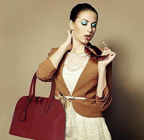 ANNA GRACE - Bolso al hombro de piel sintética para mujer Brown 1- Burgundy