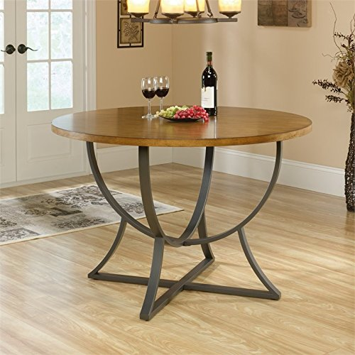 Sauder Cannery Bridge Round Dinette Table, Pecan finish (Wood Table Dining Recycled)