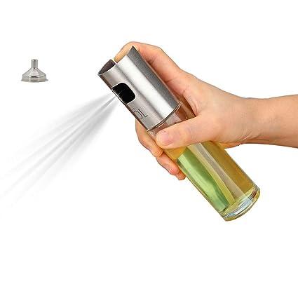 BoomYou Botella de spray para cocinar portátil Aceite de oliva y cocina vinagre balsámico Salsa de