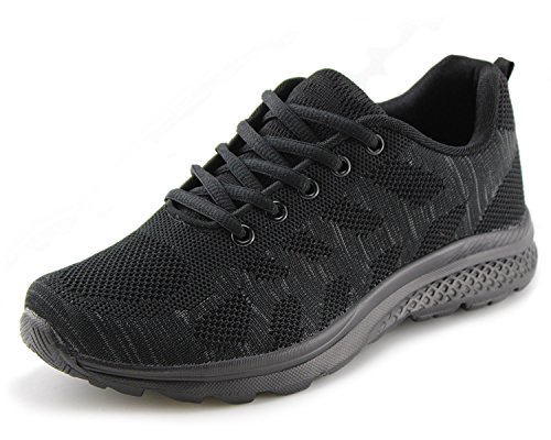 Jabasic Women's Breathable Knit Sports Running Shoes Casual Walking Sneaker(9, Black)