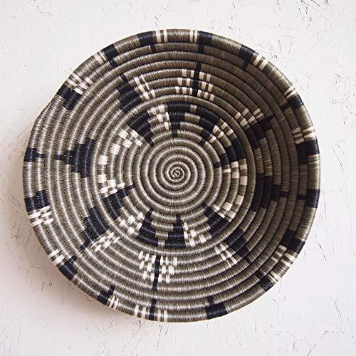 African Basket- Tumba/Rwanda Basket/Woven Bowl/Sisal & Sweetgrass Basket/Taupe, Black, White ()