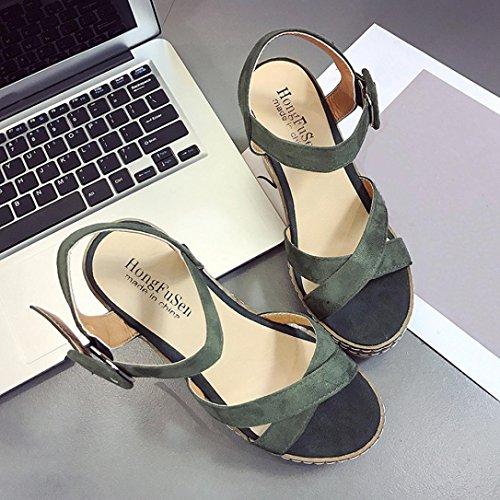 sandalias plataforma RETUROM de las de hebilla talones de cu los plataforma para la altos Sandalias a Mujer Verde la la de mujeres Sandalias de pBpra