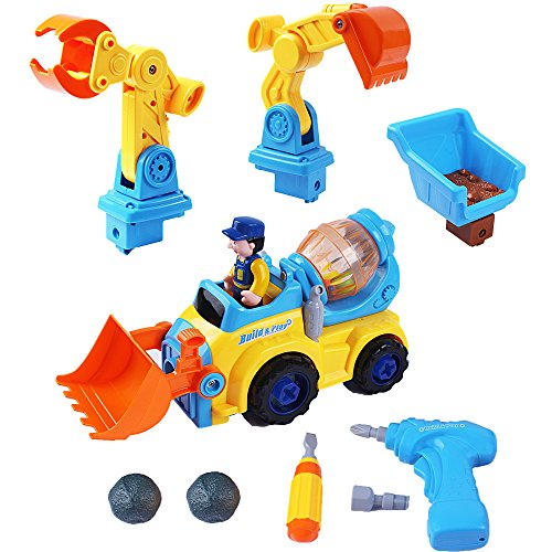 Tractor Trailer - iPlay, iLearn Farm Vehicle Front Loader Tractor Cement Mixer Tractor Backhoe Toy Digger Toy Crane Boys toys 5 in 1 (Front Loader Backhoe)