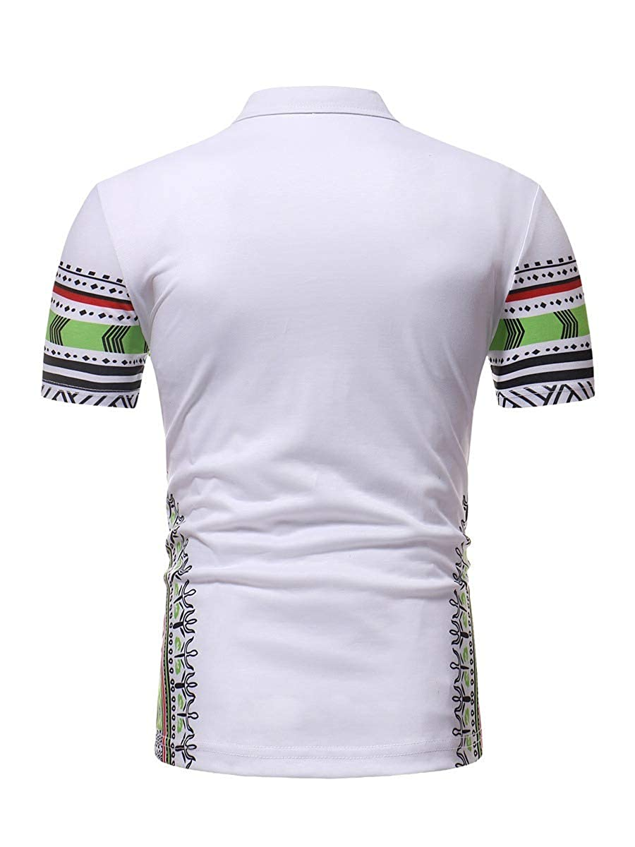 Coolred-Men Short Sleeve Regular Fit African Floral Printed Polo Shirt