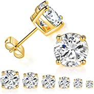 6 Pairs 14K Yellow Gold Plated Round Cut Clear Cubic Zirconia Stud Earring Pack