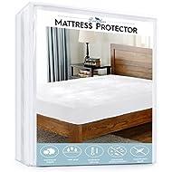 "downluxe Hypoallergenic Waterproof Mattress Protector - Soft Microplush Surface Velvet Vinyl Free 15"" Deep Pocket Fitted Skirt (King)"