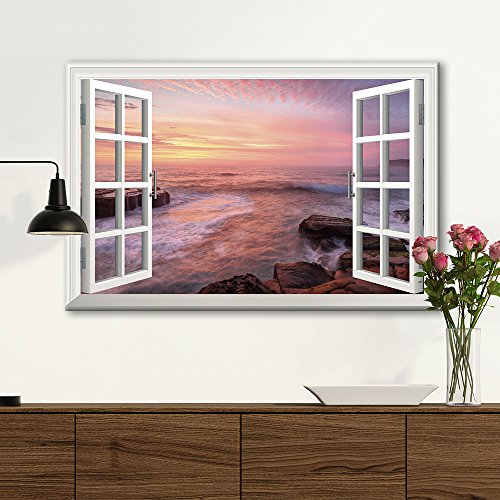3D Visual Effect View Through Window Frame Coastal Area with Huge Rocks at Sunset