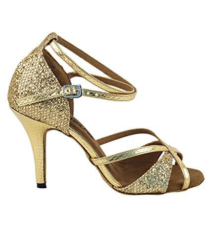 Veldig Fine Ballroom Latin Tango Dans Sko For Kvinner 2829ledss 2,75-tommers Hæl + Sammenleggbar Børste Bunt Gull Sparklenet Slange Gull