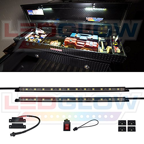 LEDGlow 2pc Truck Tool Box LED Lights – Includes Magnetic Power Switch for Automatic On/Off