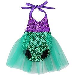Wennikids Baby Girls Sequins Mermaid Bodysuit Romper Jumpsuit Summer Sunsuit Outfits Large Purple/Green