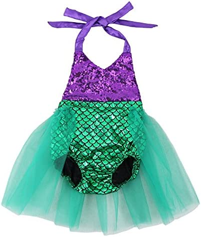 df9aef64a931 Wennikids Baby Girls Sequins Mermaid Bodysuit Romper Jumpsuit Summer  Sunsuit Outfits