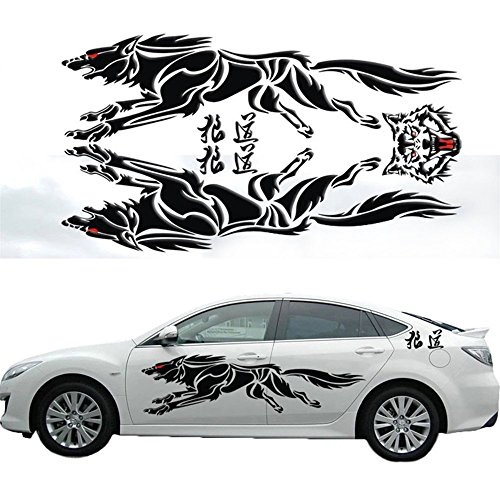 Katoot@ personalized 3D Wolf Totem decals car stickers full body car styling vinyl decal sticker for Cars Acessories decoration (Black, L)