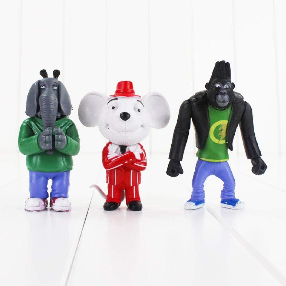 Statue DAnime8 Pcs//Lot Cartoon Sing Figure Jouet Buster Koala Johnny Rossi Minna Mike Mod/èle Animal Poup/ée pour Enfants 7-10 Cm