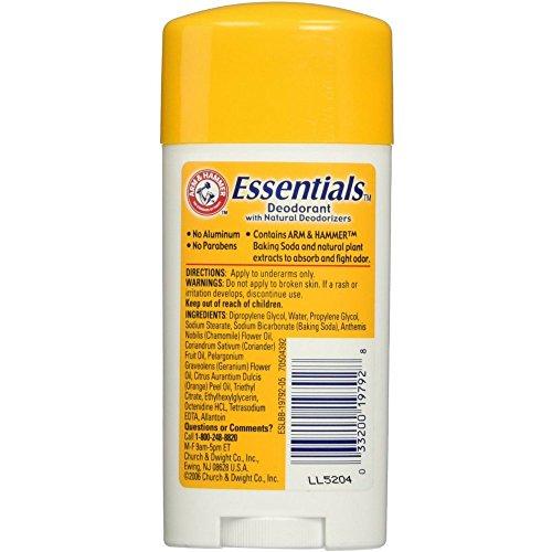 Arm Hammer Essentials Natural Deodorant, Unscented 2.5oz Pack of 18