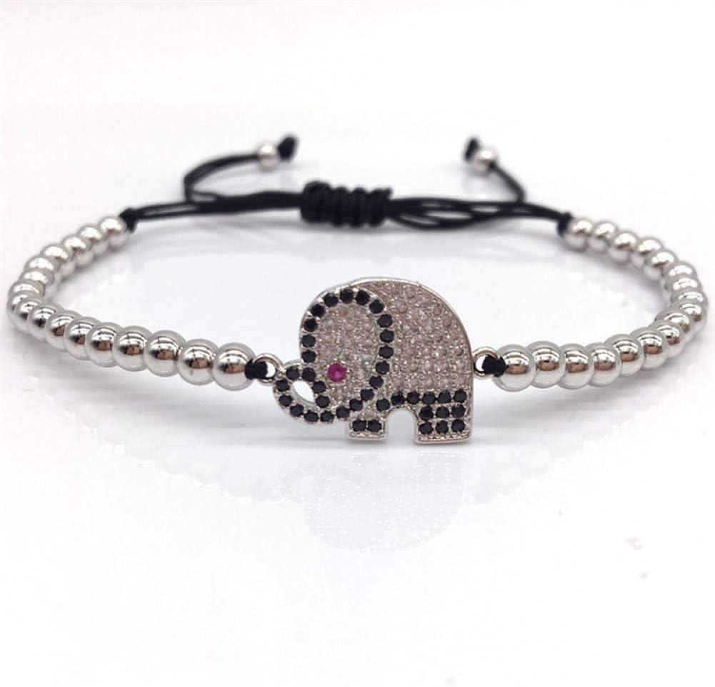 WHFDRHSZ Pulsera Brazalete Moda Pave Cz Elefante Conector Mujer Charm Bracelet 4Mm Bead Trenzado