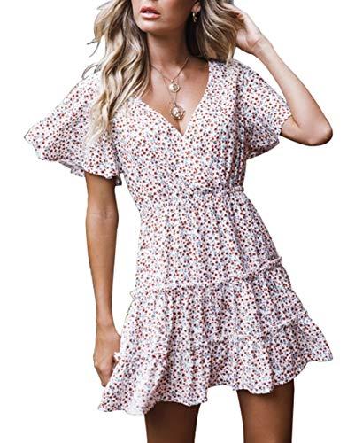 (Women Boho Dress Floral Vintage Sundress Wrap Beach Dress Ruffle Swing Dress A Line Mini Dress (S, Floral))