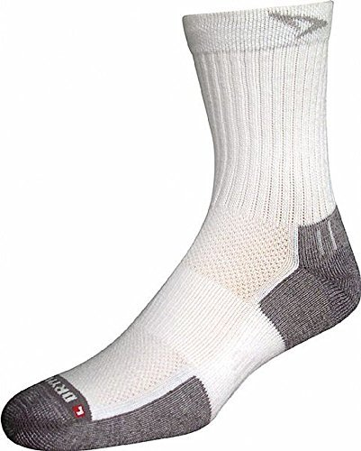 Drymax Tennis Crew, White/Grey, W7.5-9.5 / M6-8, 2 Pack