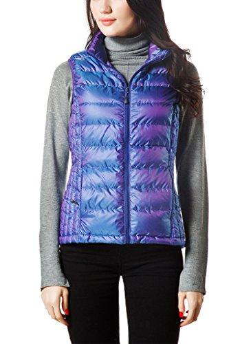 XPOSURZONE Women Packable Lightweight Down Vest Outdoor Puffer Vest Teal Violet M