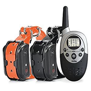 PetSpy 1100 Yard Waterproof Rechargeable Remote Training Dog Collar with Beep, Vibration and Electric Shock for 2 Dogs