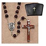 Brown Wood Rosary 6 mm Wood, Oxidized Silver 16'' L - Christian Brands Catholic