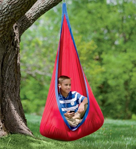 Red Hugglepod Deluxe Hanging Cocoon Chair Hammock Nest with Removable Cushion Cotton Canvas Fabric Machine Washable 175 LBS Max Weight by HearthSong® (Image #1)