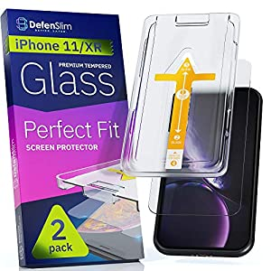 Defenslim iPhone 11 / XR Screen Protector [2-Pack] with Easy Auto-Align Install Kit – Tempered Glass for iPhone 11, XR…