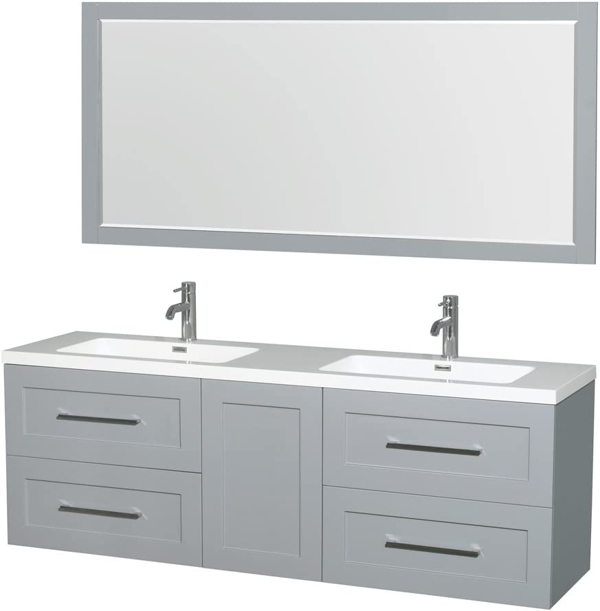Wyndham Collection Olivia 72 inch Double Bathroom Vanity in Dove Gray, Acrylic Resin Countertop, Integrated Sinks, and 70 inch Mirror