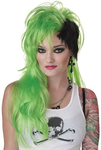 [California Costumes Lime Smash Punk Wig, Lime/Black, One Size] (Lime Green Wigs)