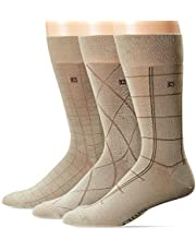 Chaps Men's Dashed Windowpane Dress Crew Trouser Socks 3 Pair, khaki, Shoe Size: 6-12