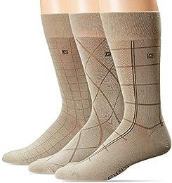 Best Review Men Dashed Windowpane Dress Crew Trouser Socks 3 Pair Khaki 10 13shoe Size 6 12