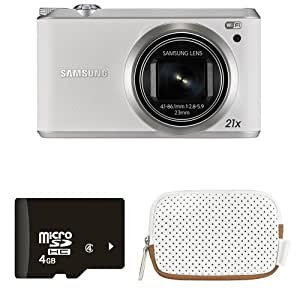 Samsung WB350F 16.2MP Smart WiFi Digital Camera with 4GB Card and Case (White)