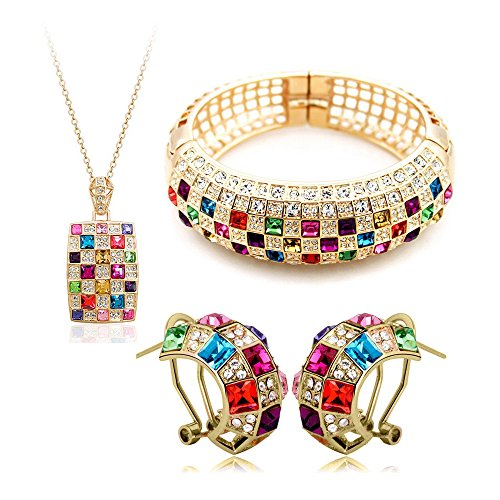 stal Queen Necklace Earrings Bracelet Jewelry Set for Women Wedding ()