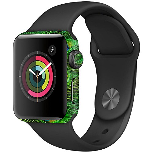 Price comparison product image MightySkins Skin Compatible with Apple Watch Series 3 42mm - Peacock Feathers / Protective,  Durable,  and Unique Vinyl Decal wrap Cover / Easy to Apply,  Remove,  and Change Styles / Made in The USA