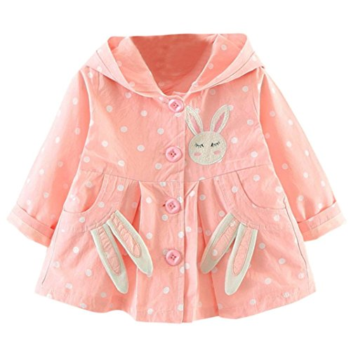 kaifongfu Baby Girls Jacket,Toddler Winter Warm Trench Windbreaker Coat Outwear (Pink, 12M♣85) (Corduroy Coat Flower)