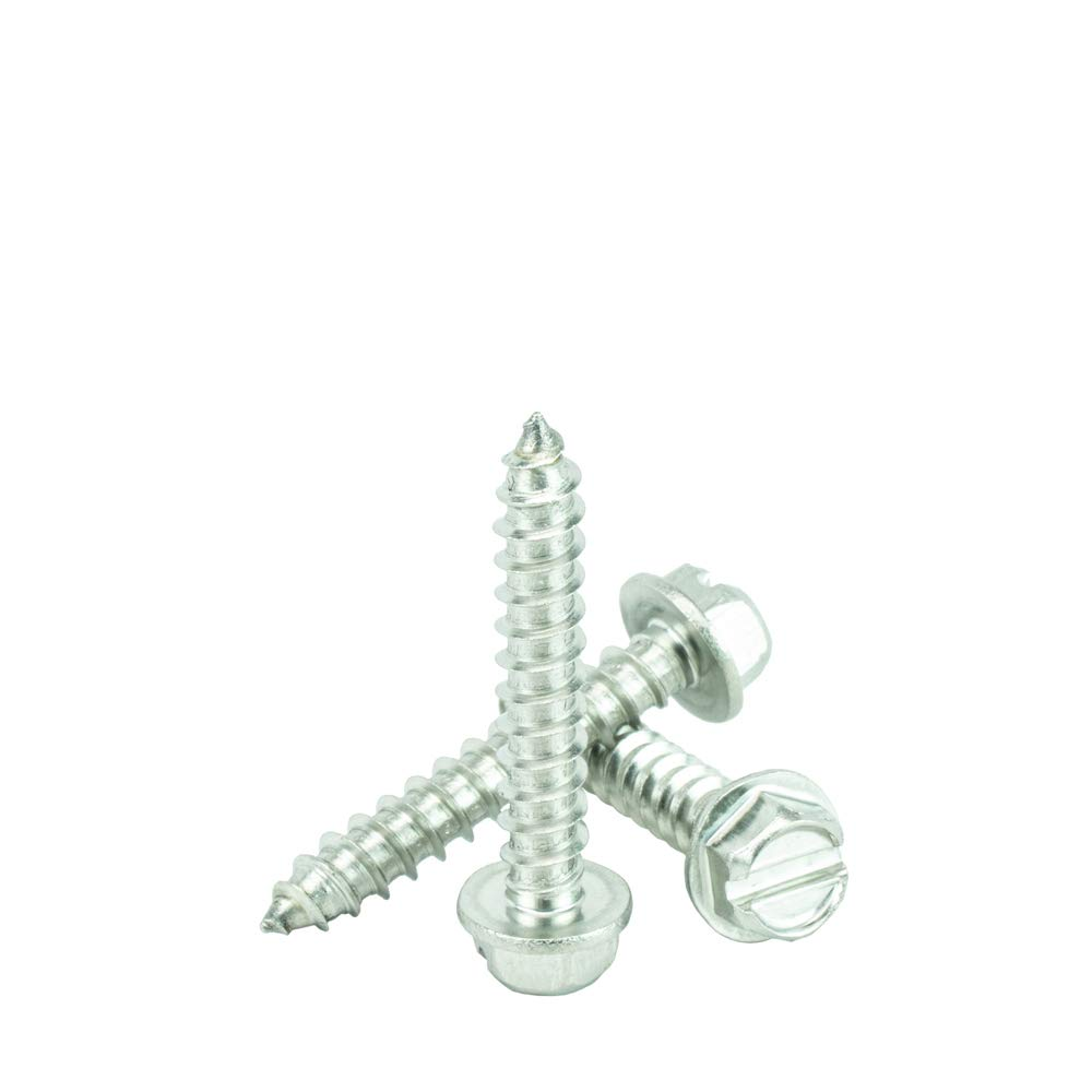 18.8 Stainless Steel Full Thread #14 x 1-1//4 Hex Washer Head Sheet Metal Screws Self Tapping Qty 100 by Bridge Fasteners