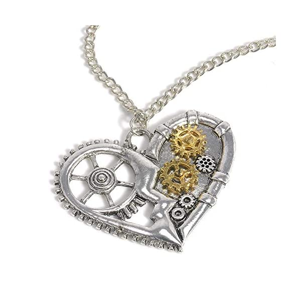 AILUOR Steampunk Gear Pendant Necklace, Punk Vintage Gothic Love Heart Owl Butterfly Bee Insect Chain Sweater Pendant… 4
